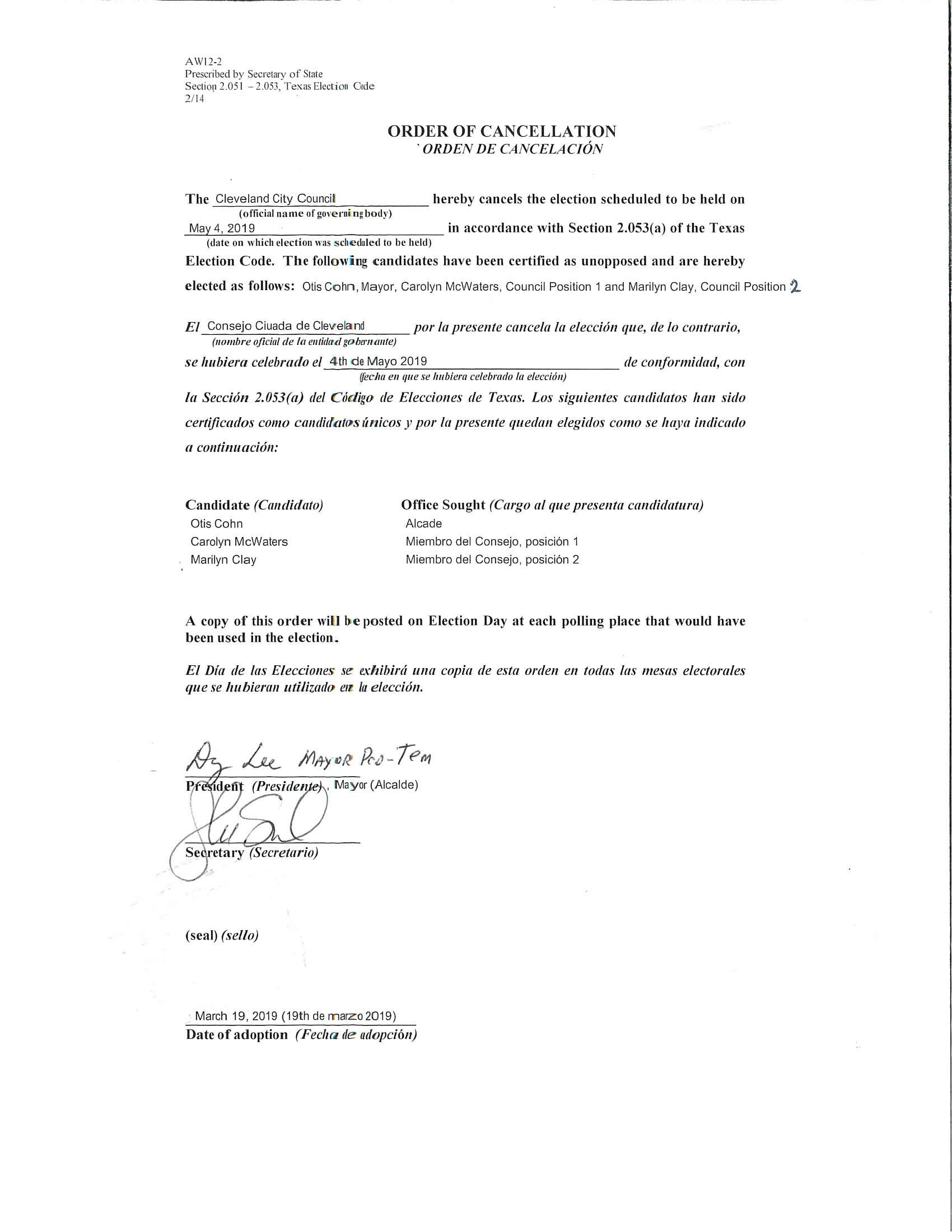 Order of cancellation 2019 signed