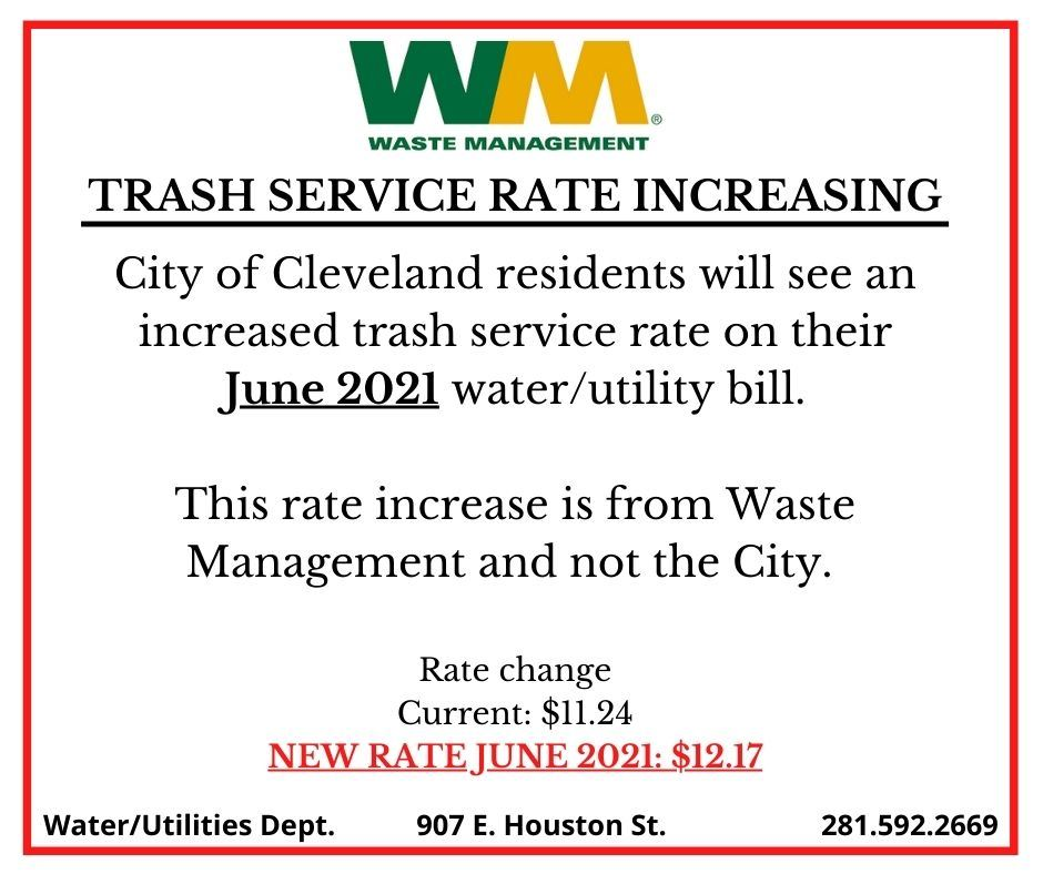 6.2021 TRASH SERVICE RATE INCREASE